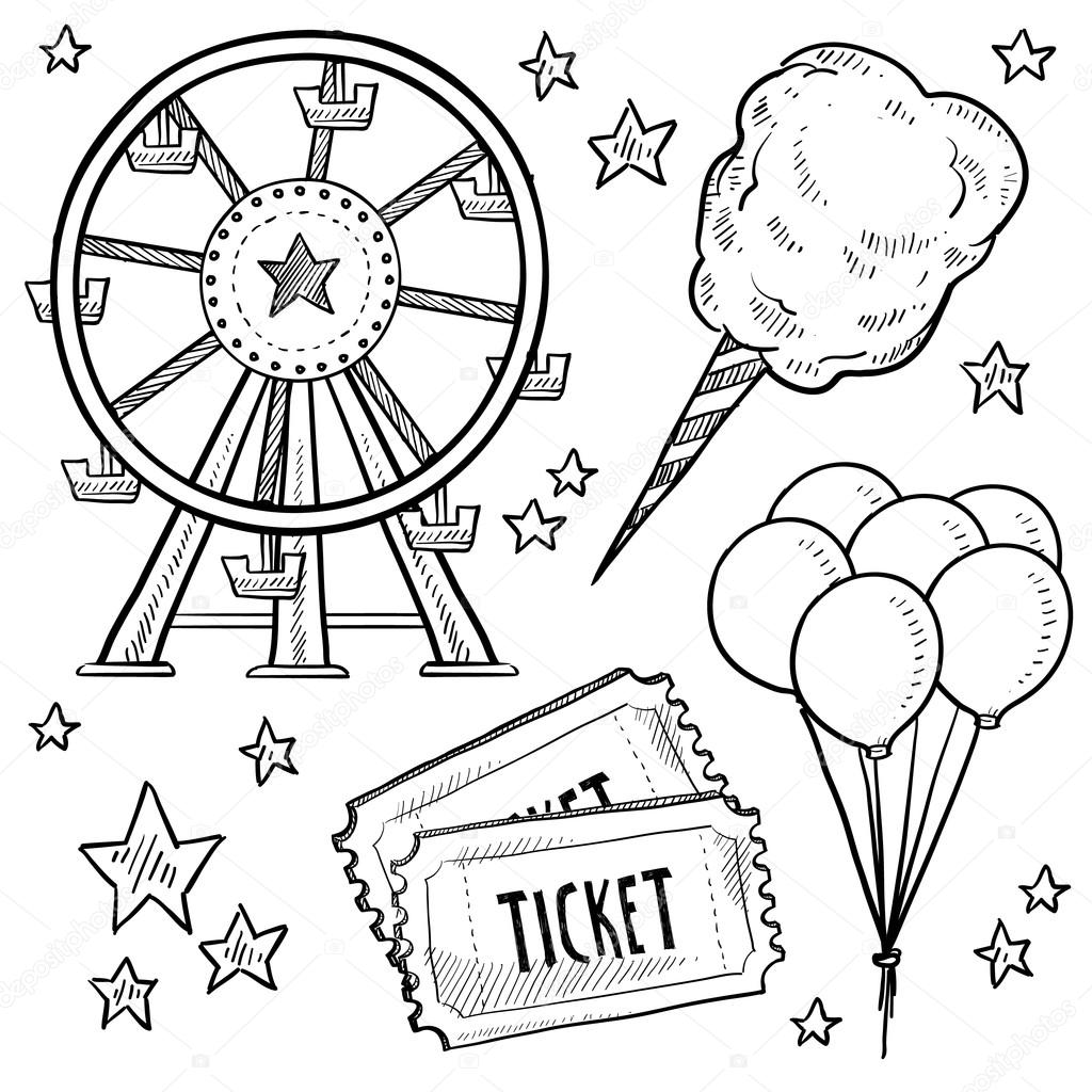1024x1024 Carnival Or Amusement Park Objects Sketch Stock Vector