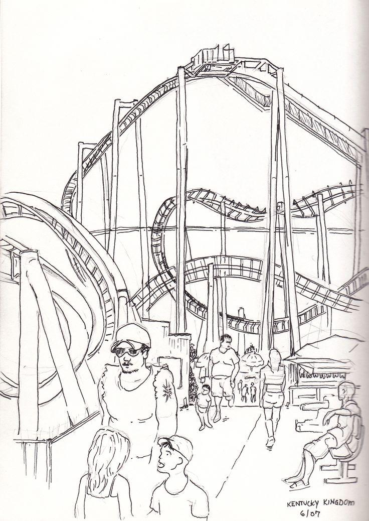 736x1038 Chuck Cecil Amusement Park (30 Minute Pen Amp Ink) Urban Sketches