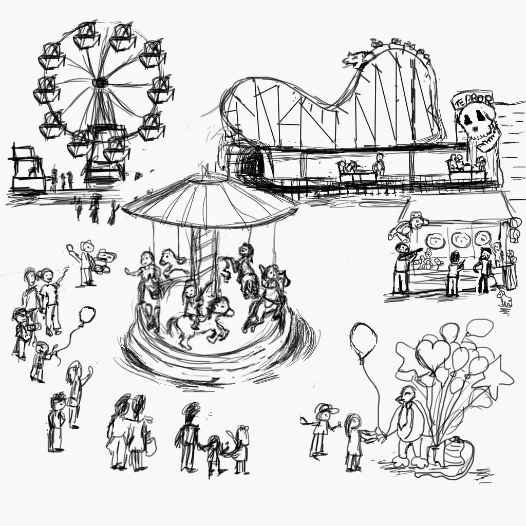 1024x1024 Drawing Of Amusement Park Amusement Park Clipart Sketch