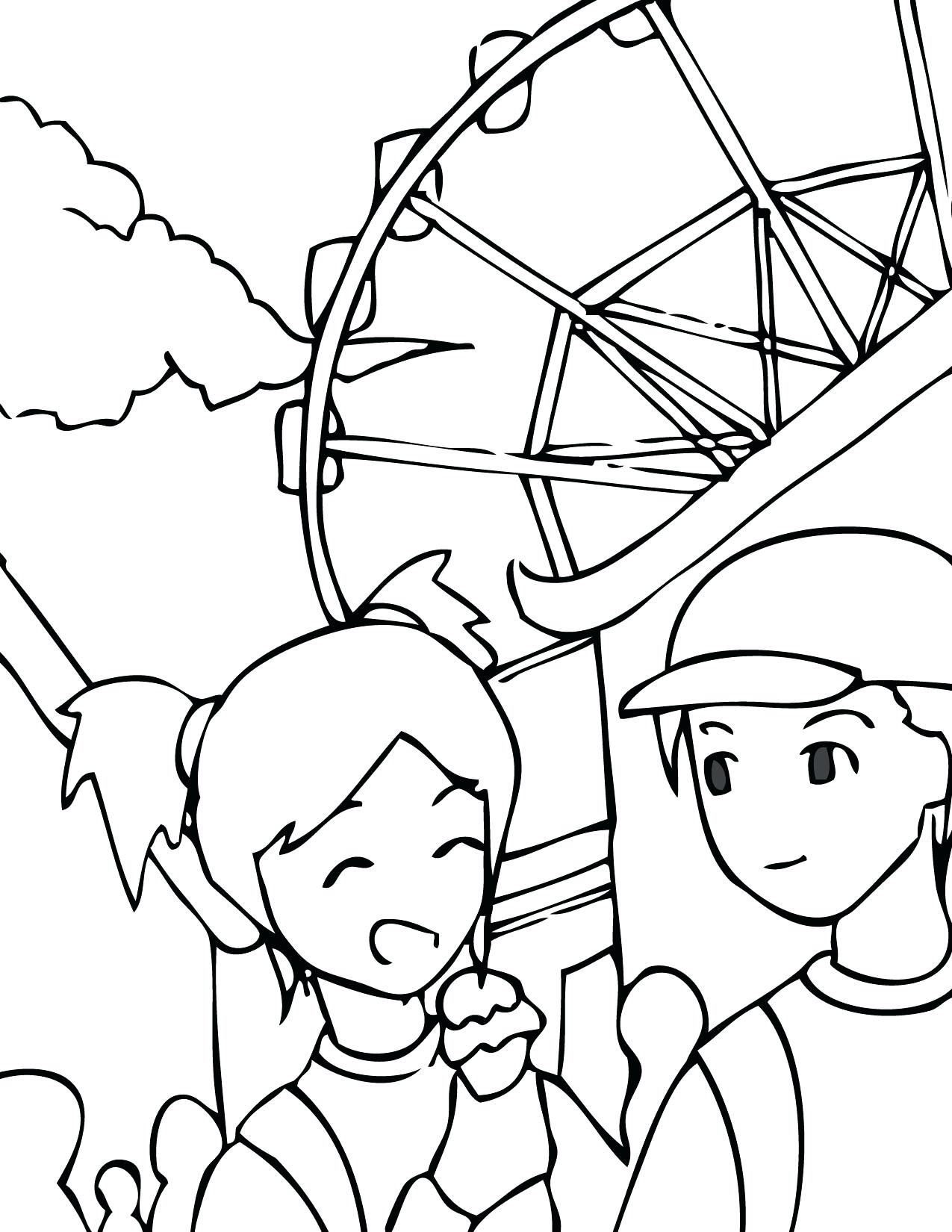 1275x1650 Coloring Amusement Park Coloring Pages Theme Page On Custom Books
