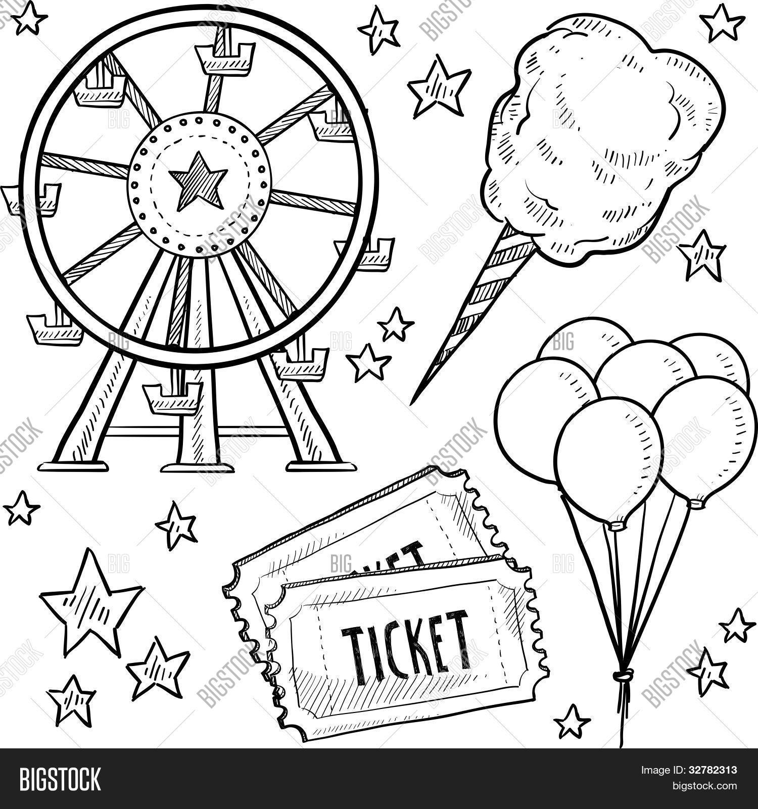 1500x1601 Amusement Park Objects Sketch Vector Amp Photo Bigstock