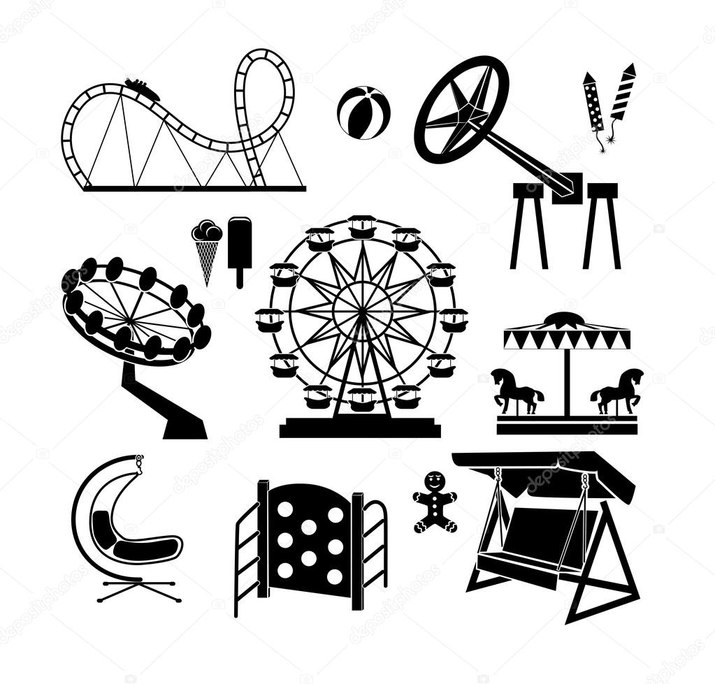 1023x979 Amusement Park Icons Stock Vector Krylovochka