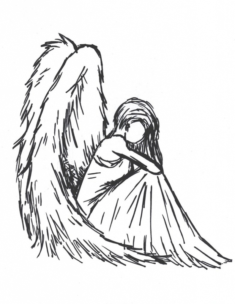 791x1024 Drawing Of An Angel Easy Drawing Of An Angel 1000 Ideas About