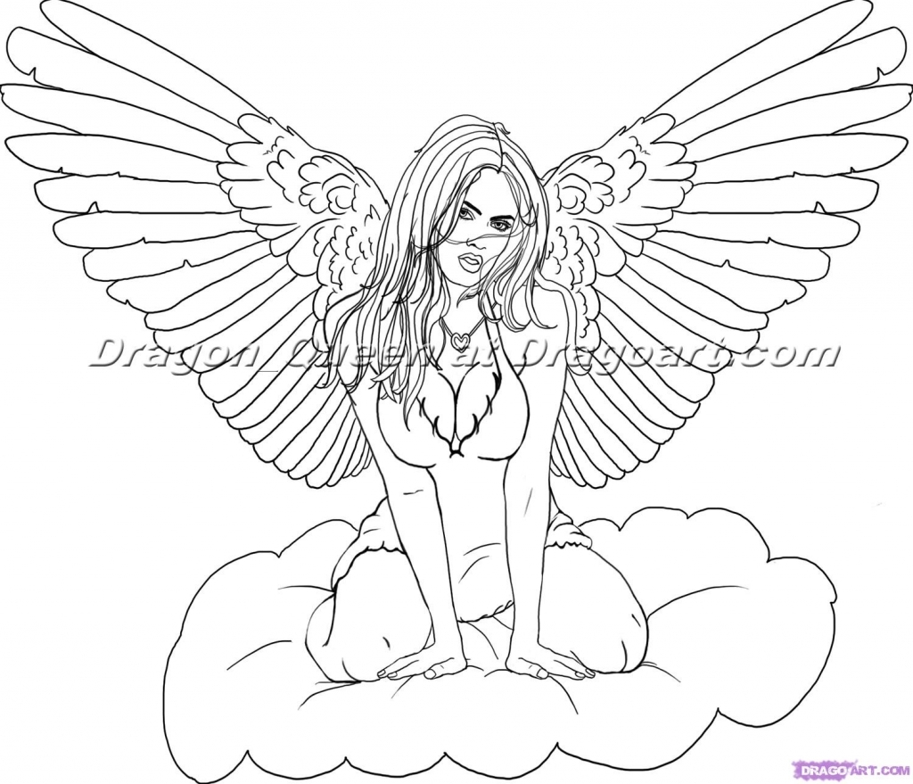 1024x879 Drawing Of Angels Draw An Angel Step Step Drawing Sheets Added
