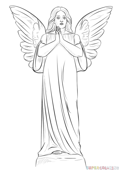404x575 How To Draw An Angel Girl Step By Step. Drawing Tutorials For Kids