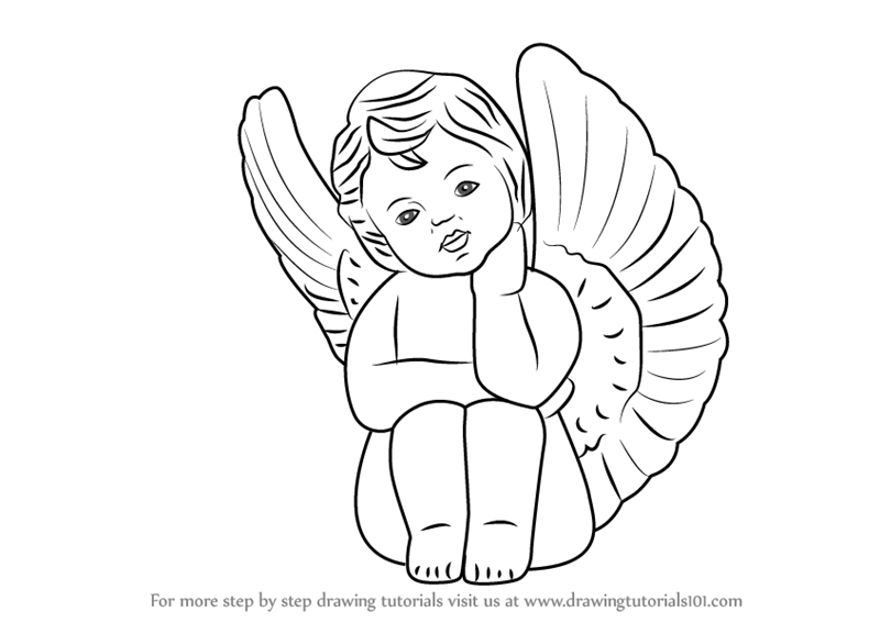 800x567 Learn How To Draw A Baby Angel With Wings (Angels) Step By Step