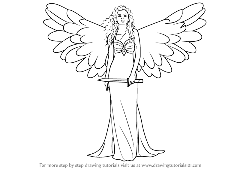 800x564 Learn How To Draw An Angel With Sword (Angels) Step By Step