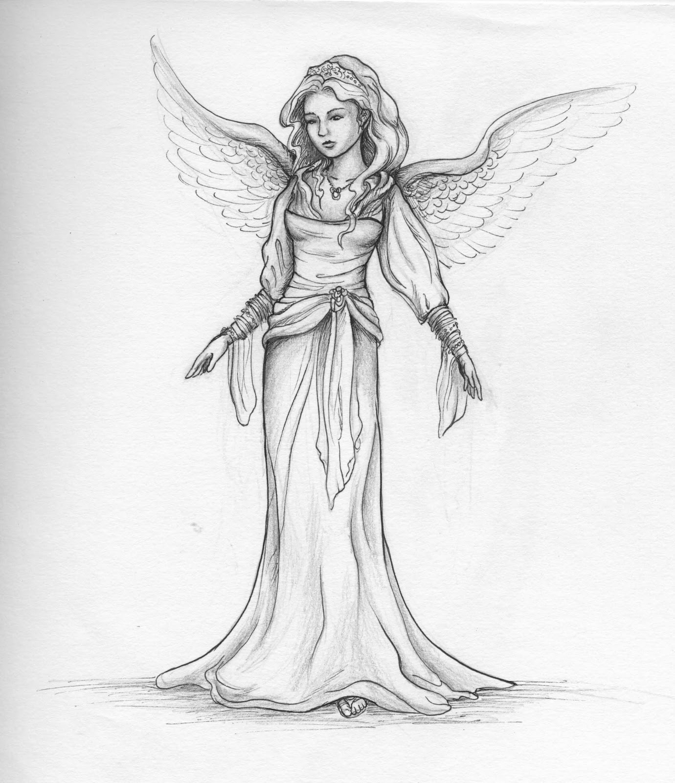 Simple Sketches Of Angels Pencil Sketch