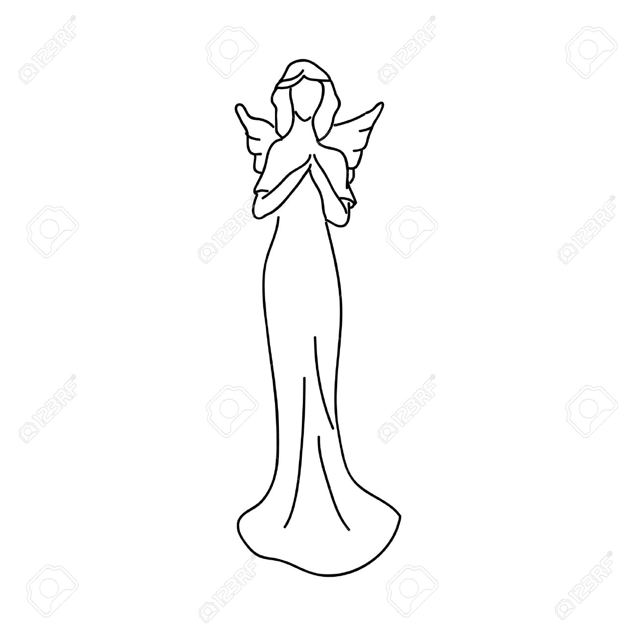 1300x1300 Simple Sketch Of An Angel, A Female Figure With Wings Stock Photo