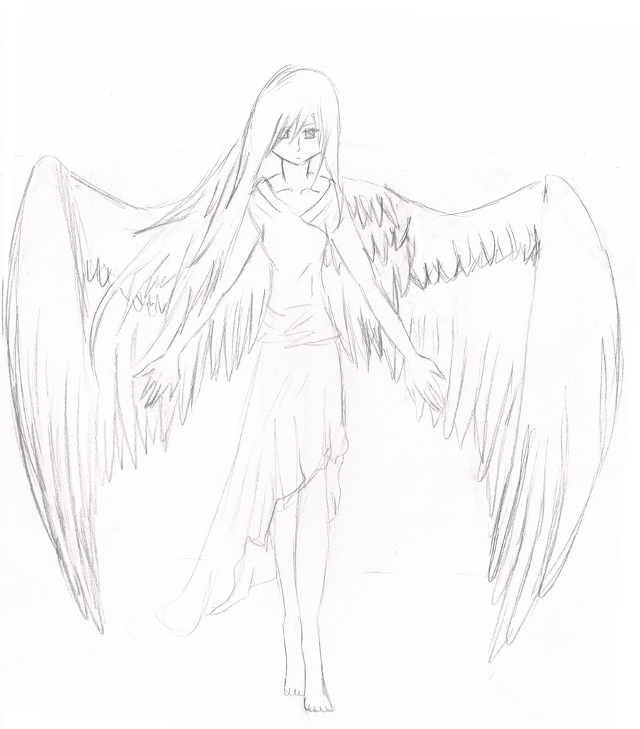 900x1025 Sad Anime Angels Drawings In Pencil