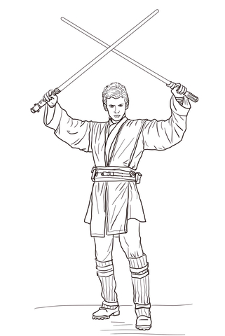 321x480 Anakin Skywalker With Two Lightsabers Coloring Page Free