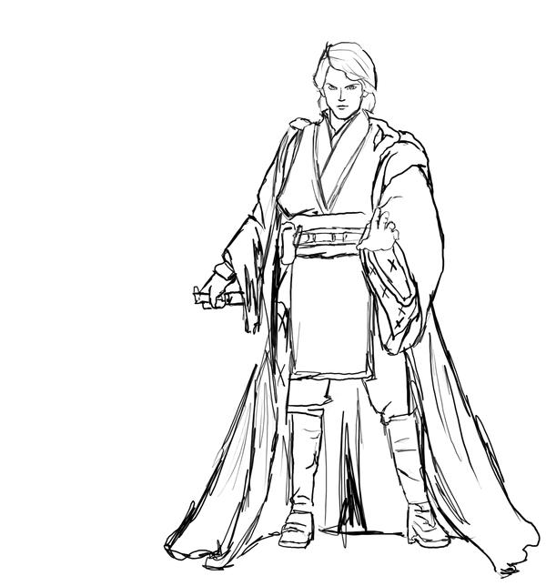 600x644 Anakin Skywalker Sketch By Hitokirisan