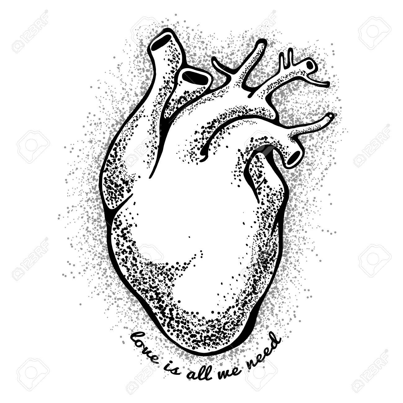 1300x1300 Black Anatomical Heart. Tagline Love Is All We Need. Valentines