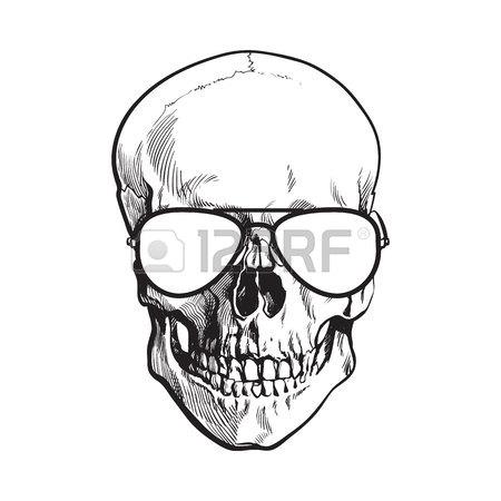 450x450 Hand Drawn Human Skull Wearing Black And White Unlabelled Baseball