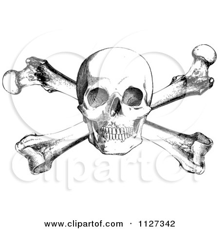 450x470 Clipart Of A Retro Black And White Skull And Cross Bones