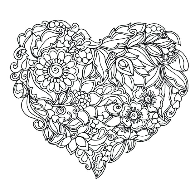 625x625 Awesome Heart Coloring Page Image Free Printable Valentine Hearts