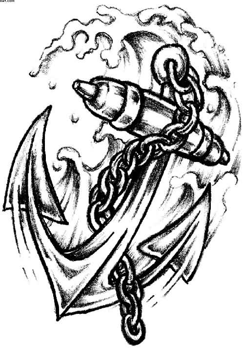 500x713 Black Ink Anchor With Chain Tattoo Design Tattoo = Love