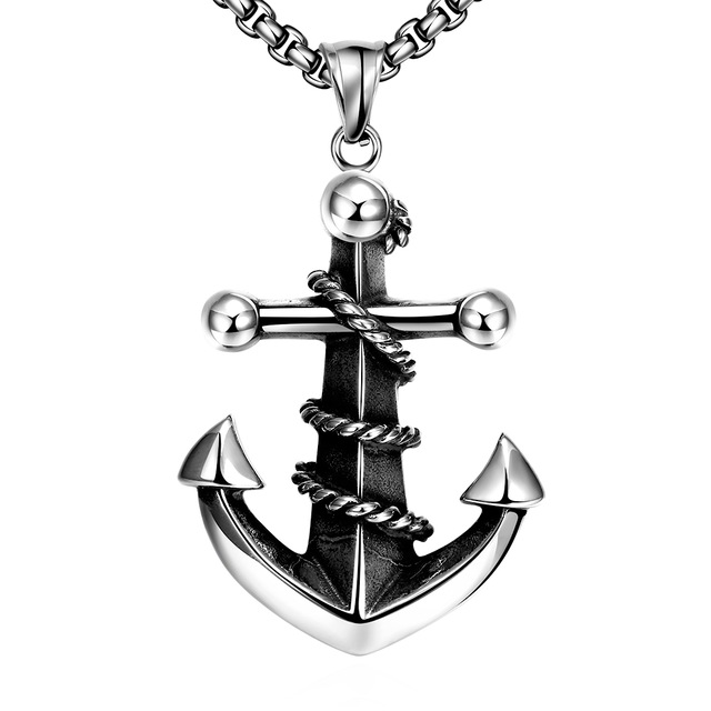640x640 Fashion Anchors Rock Punk Jewelry Men Stainless Steel Silver