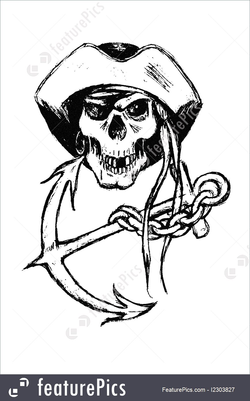 867x1392 Illustration Of Pirate Skull With Anchor