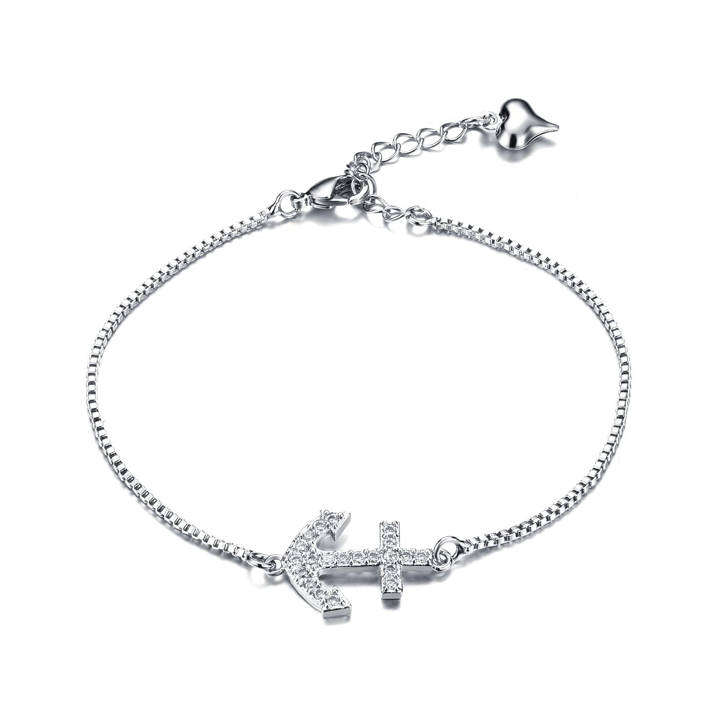 1400x1400 Silver Anchor Charm Bracelet With Box Link Chain Women's Anchor
