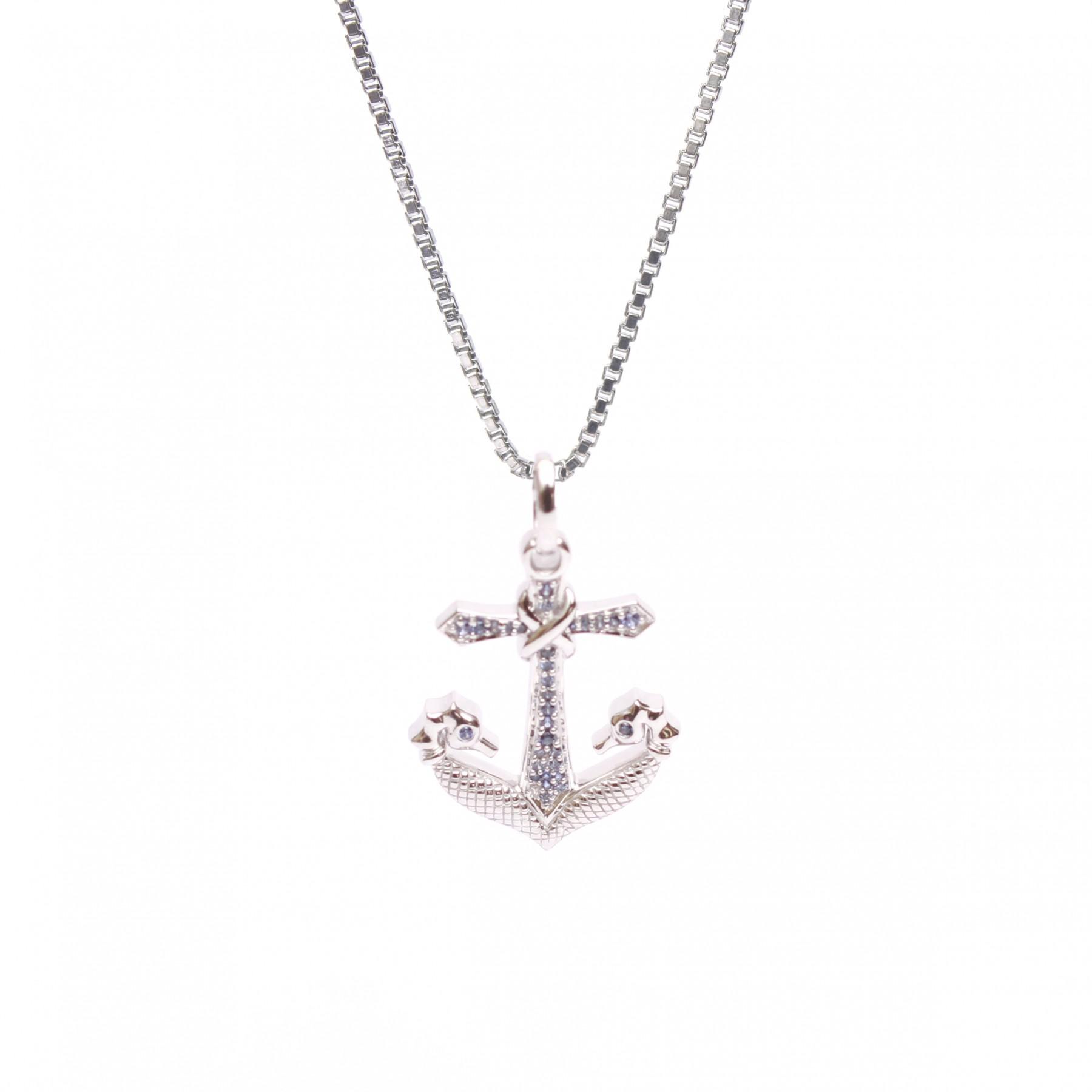 1800x1800 Twin Seahorse Anchor Pendant In Cz Diamond With Box Chain