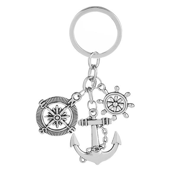 640x640 Vintage Anchor Keychain Creative Simple Rudder Compass Anchor Key
