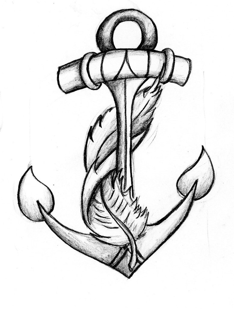 778x1028 Anchor Tattoos With Flowers Drawing