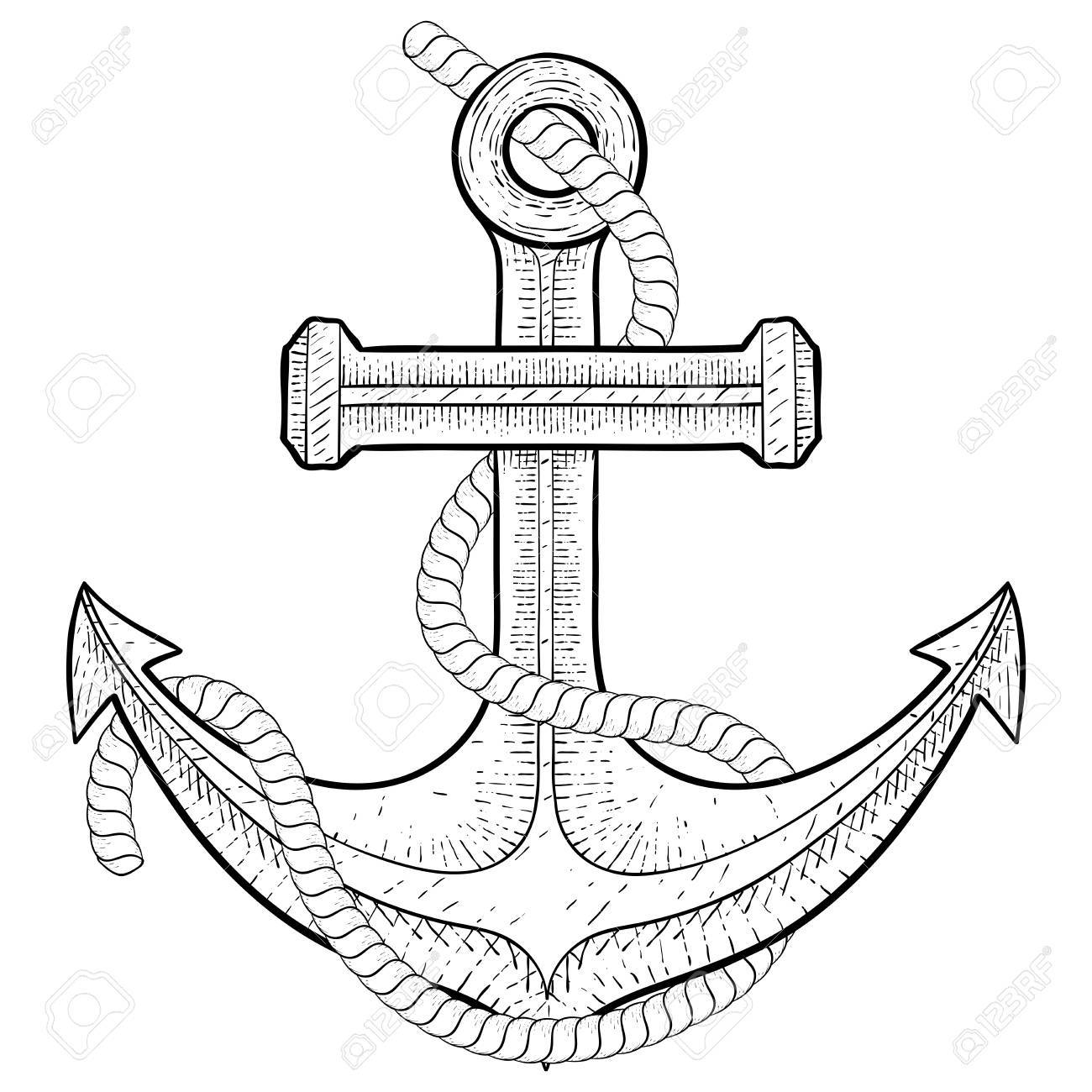 1300x1300 Anchor With Rope. Hand Drawing Royalty Free Cliparts, Vectors,