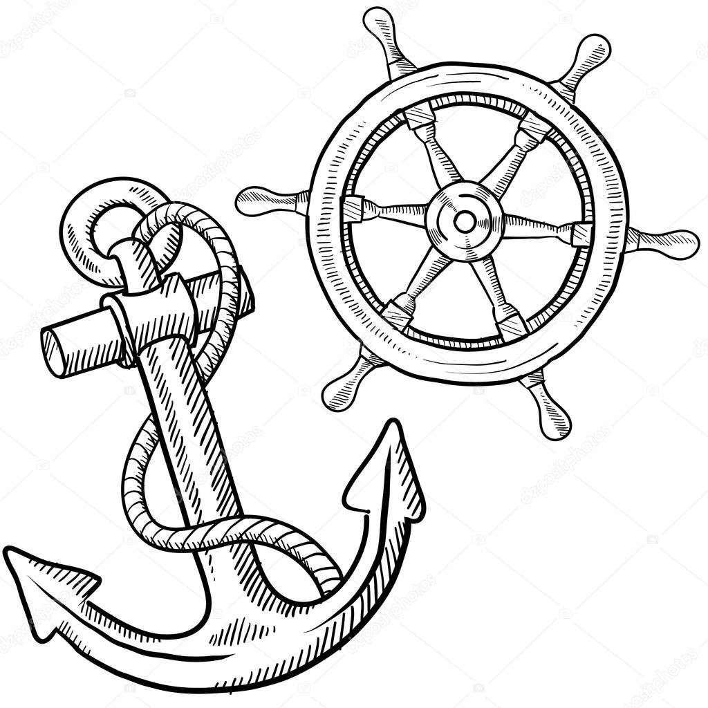 1024x1024 Anchor And Ship's Wheel Sketch Stock Vector Lhfgraphics
