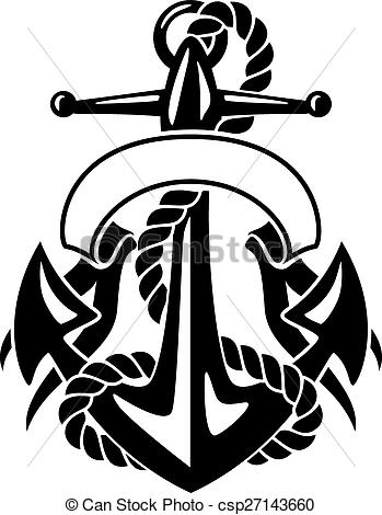 349x470 Anchor With Rope And Banner. Sharp Looking Ships Anchor, Clip