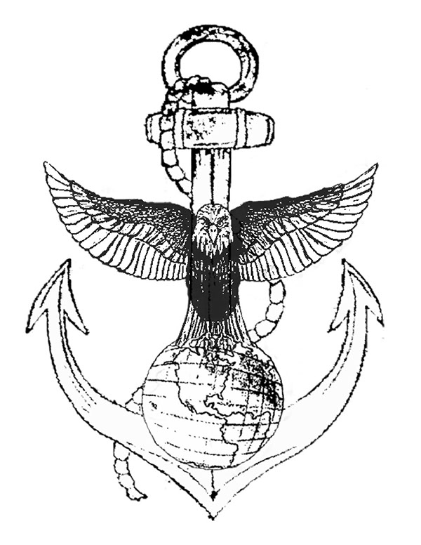 600x776 Eagle Globe And Anchor Line Drawing Images