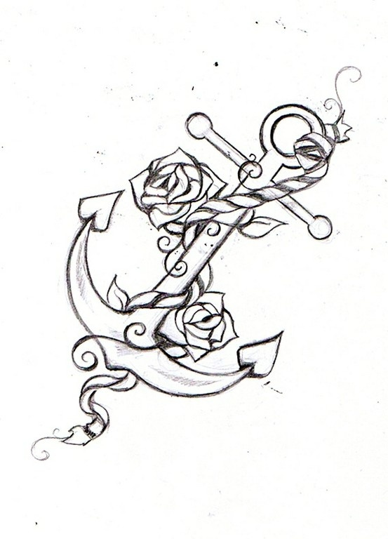 553x768 Anchor Rope Tattoos Designs