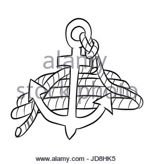 300x320 Drawing Anchor Rope Marine Nautical Vector Illustration Eps 10