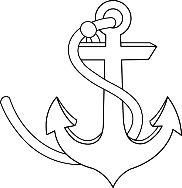 600x619 Anchor Clipart Coloring Page
