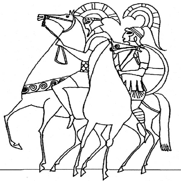 600x601 Ancient Rome Army In Classic Greek Style Drawing Coloring Page