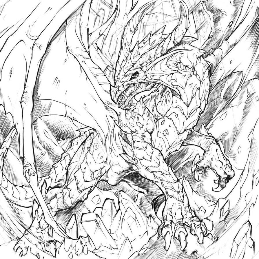 894x894 Ancient Ruby Dragon Sketch By Chaos Draco