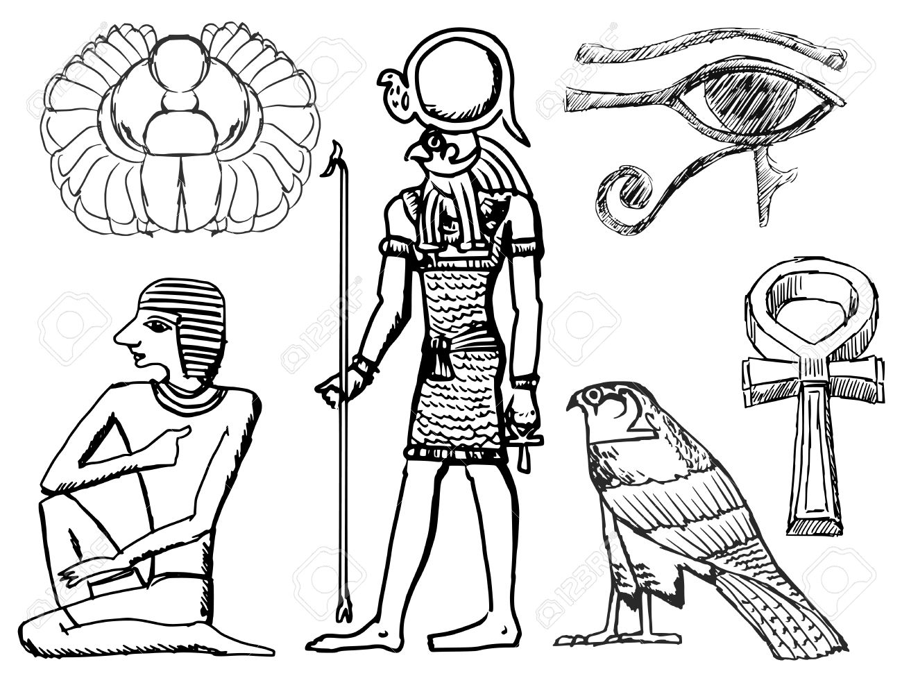 1300x974 Set Of Sketch Illustrations Of Ancient Egyptian Symbols Royalty