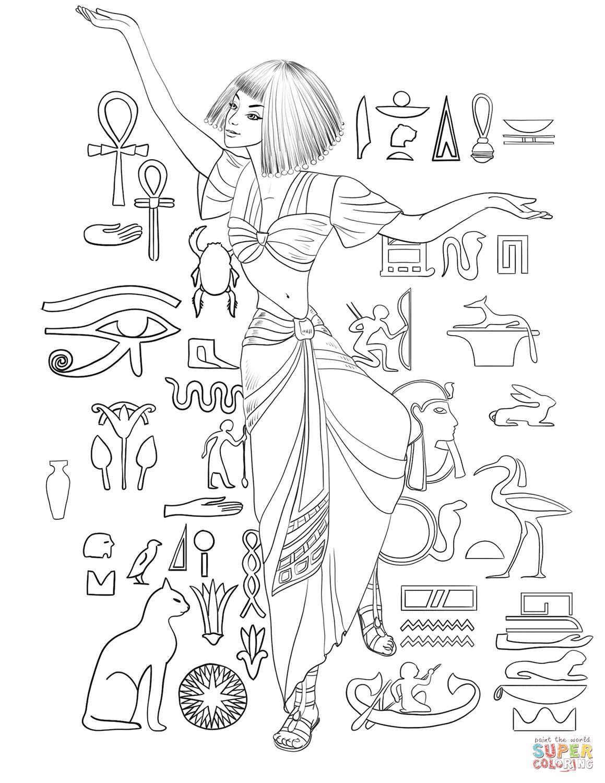 1159x1500 Ancient Egyptian Girl Dancing Coloring Page Free Printable