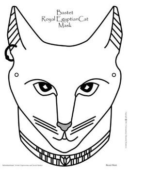 299x350 Bastet Ancient Egyptian Cat Mask By Kathleen Hamilton Resources