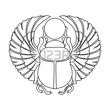 450x450 Scarab Icon In Outline Style Isolated On White Background. Ancient