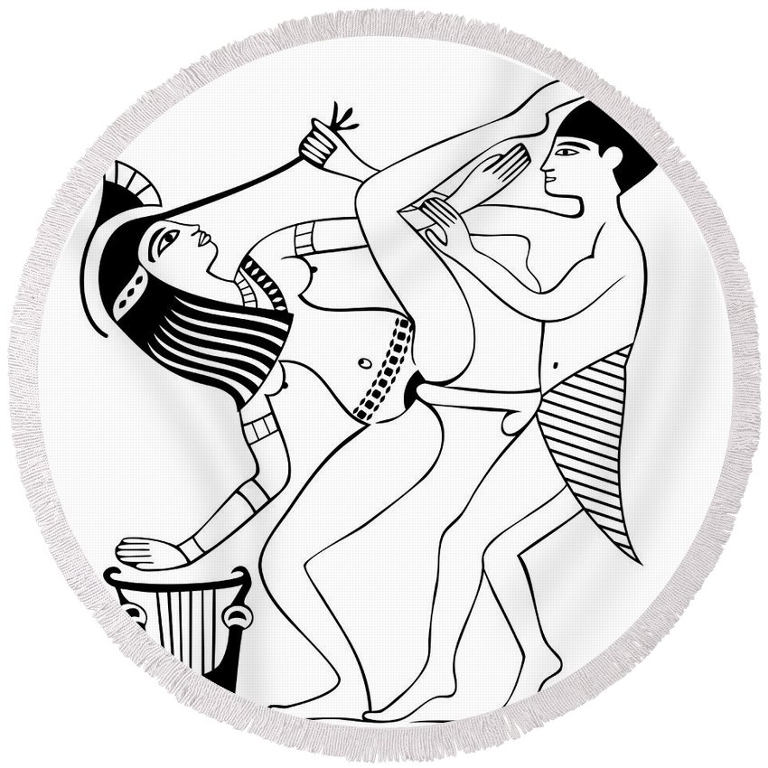 850x850 Erotic Art Of Ancient Egypt Round Beach Towel For Sale By Michal