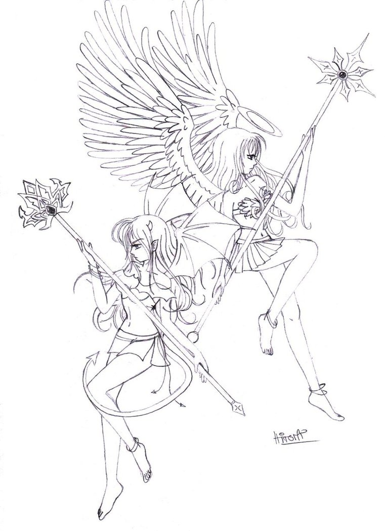 761x1050 Angel And Devil By Katuline