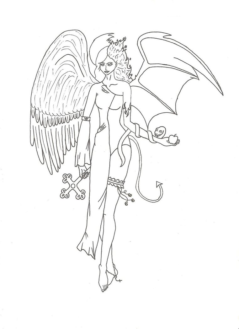 762x1048 Angel Or Devil Lineart By Katanka Chan