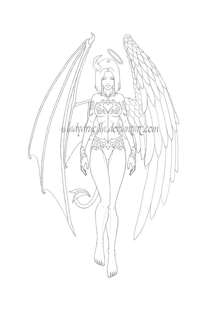 736x1040 Devil And Angel Tattoo She's The Devil, The Angel By ~terryrism