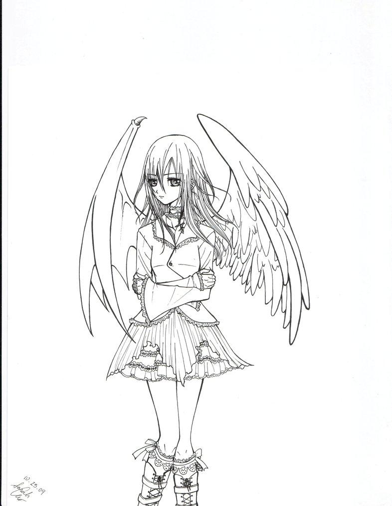 786x1016 Angel Devil Hybrid Girl By Strawberrycat31