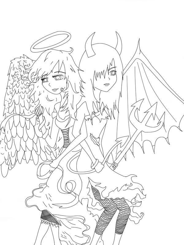 600x800 Angel Devil Lineart By Tash360