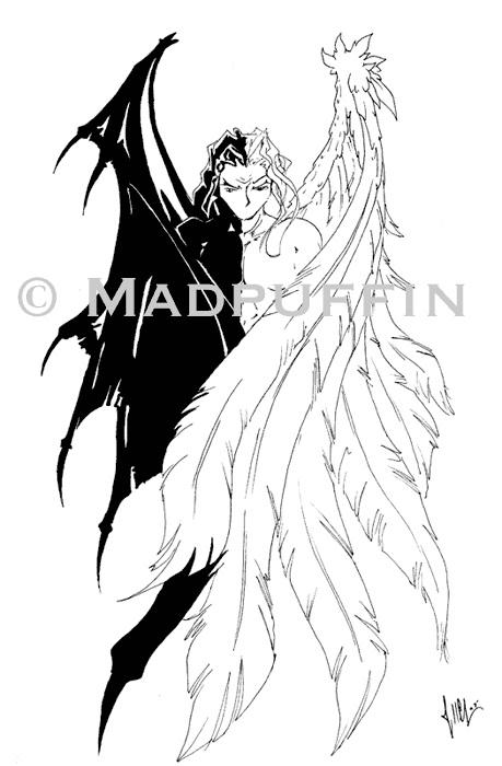 459x700 Angel Devil Tattoo Design By Madpuffins Tats Angel