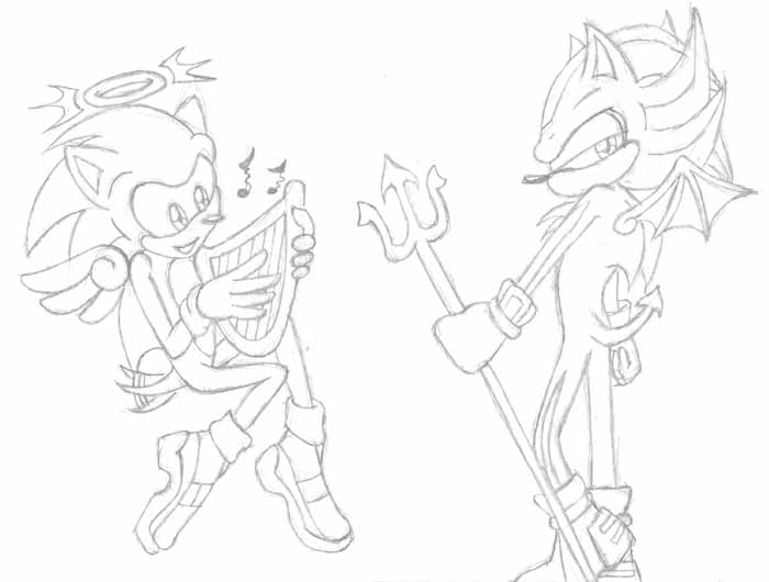 700x530 Angel Sonic, Devil Shadow By Carriepika