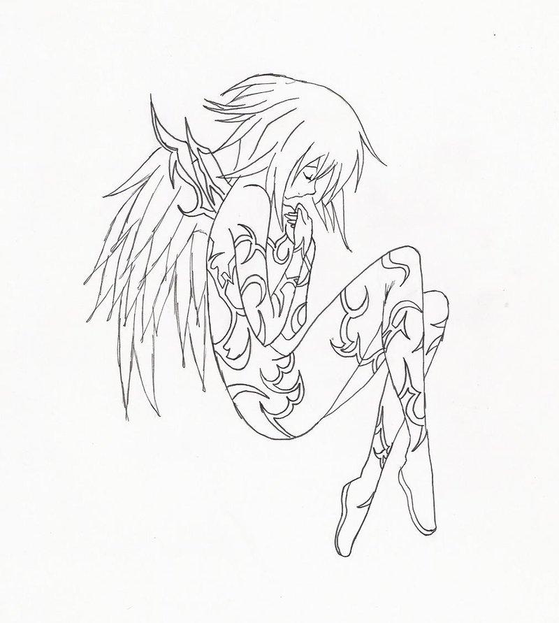 800x891 Angel Line Art By Darklycutegirl