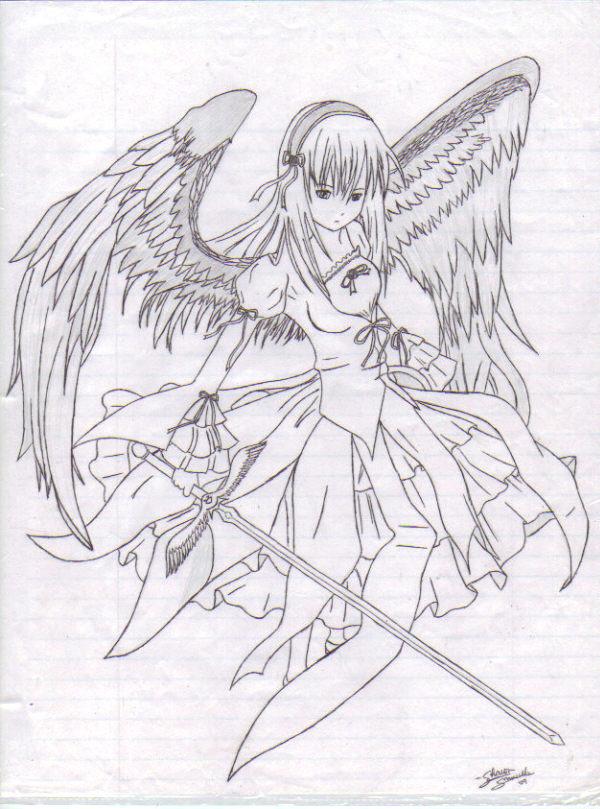 600x809 Anime Angel Girl By Sharonsezrawr